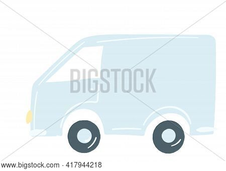 Lorry Van In Blue. Isolated Car. Hand Drawn Cartoon Style, Vector Illustration. Transportation Of Go