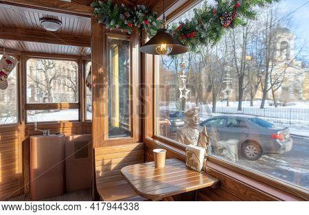 Vyborg, Leningrad Region, Russia - March 4, 2021: In Interior Of The Small Cafe-tram. The Tram Monum
