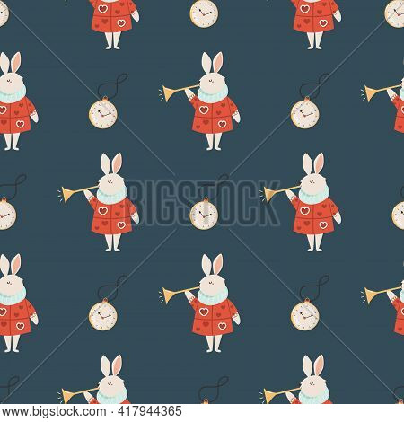 Seamless Pattern With Symbols From Alice In Wonderland
