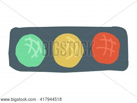Road Traffic Light. Style Cartoon Simple Hand Drawing. Vector Illustration.