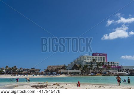 Isla Mujeres, Mexico - March 12. 2021: Playa Norte - North Beach With White Sand And People, View To