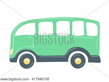 Yellow Car Bus. Isolated Car. Hand Drawn Cartoon Style, Vector Illustration. Public Transport.