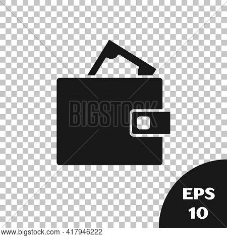 Black Wallet With Stacks Paper Money Cash Icon Isolated On Transparent Background. Purse Icon. Cash