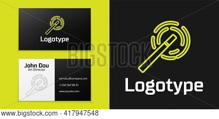 Logotype Line Magic Wand Icon Isolated On Black Background. Star Shape Magic Accessory. Magical Powe