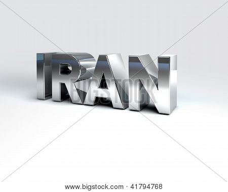 3D Country Text Of Iran