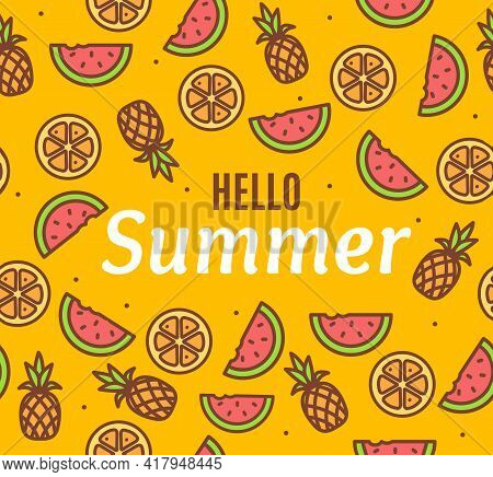 Hello Summer Concept Card Background With Color Thin Line Icons. Vector