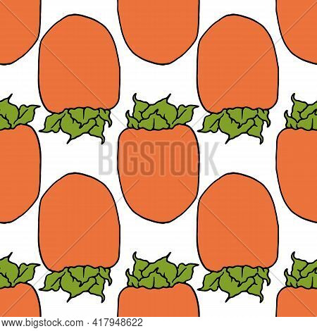 Orange Persimmon Seamless Pattern. Hand Drawn Orange Whole Persimmon With Green Leaves At The Base W