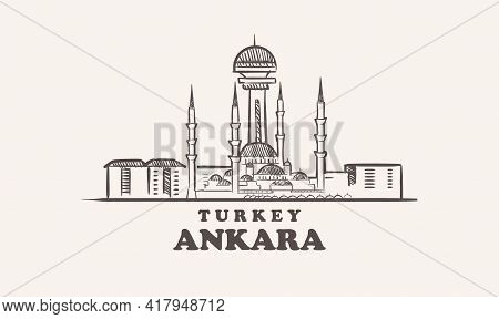 Ankara Cityscapae Sketch Hand Drawn , Turkey Vector