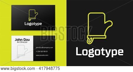 Logotype Line Sauna Mittens Icon Isolated On Black Background. Mitten For Spa. Logo Design Template