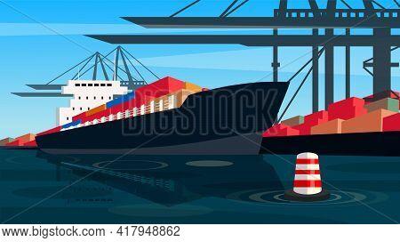 Ship Carrier On Container Transport Dock Port , Vector Illustration