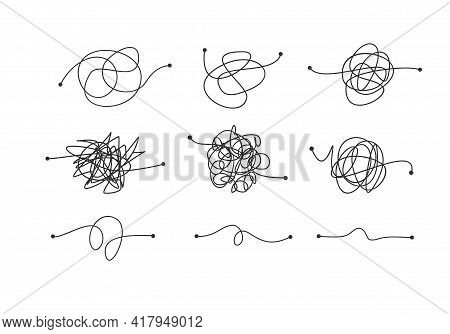 Tangled Confused Scribble Thin Line Arrow Set. Vector