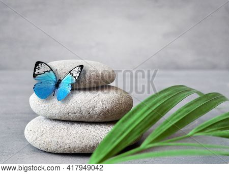 Spa Stones With Palm Branch And Butterfly On Grey Background.