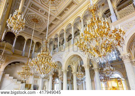 Saint Petersburg, Russia - April 2021: Pavilion Hall With Floor Mosaic In Winter Palace (hermitage M
