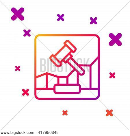 Color Line Online Internet Auction Icon Isolated On White Background. International Trade Concept. I