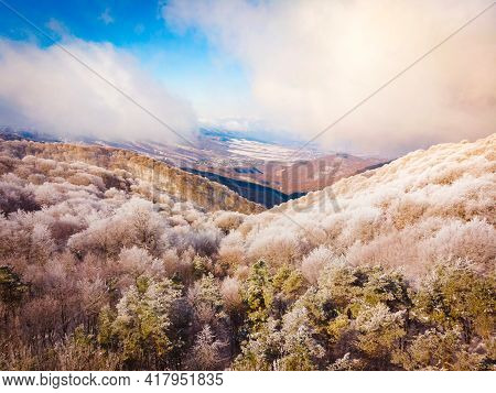 Aerial View Spring Snow Melt Caucasus Mountains Georgia In Sabaduri Forest Destination. Wonderful La