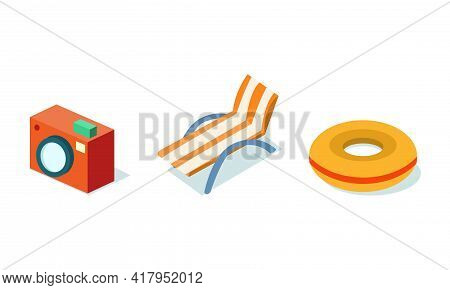 Beach Vacation And Summer Holiday Elements With Camera, Rubber Ring And Sun Lounger Isometric Vector