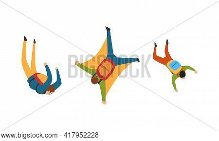 Young Man Parachutist Streamer Free-falling In The Air With Parachute Bag Vector Set