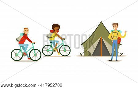 Cheerful People Characters With Backpack Hiking Or Trekking Vector Illustration Set