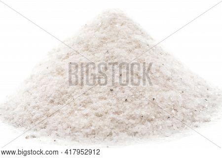 Salt. Table Salt. Slide With Salt On A White Background Close-up