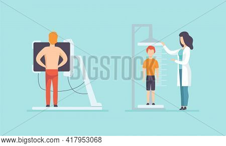 Medical Physical Health Checkup With Doctor Therapist Examinig Patient Vector Set
