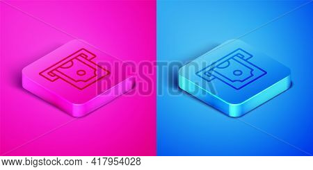 Isometric Line Atm - Automated Teller Machine And Money Icon Isolated On Pink And Blue Background. S