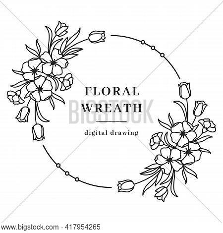 Vector Floral Wreath, Flower Circle Monogram, Spring Floral Frame