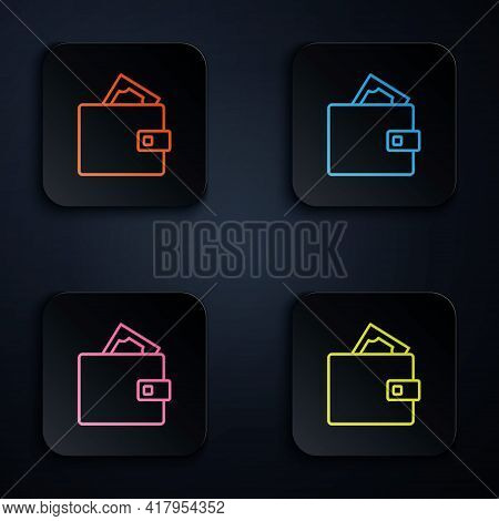 Color Neon Line Wallet With Stacks Paper Money Cash Icon Isolated On Black Background. Purse Icon. C