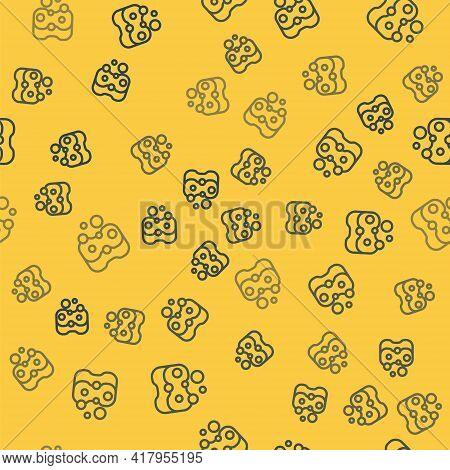Blue Line Sponge Icon Isolated Seamless Pattern On Yellow Background. Wisp Of Bast For Washing Dishe
