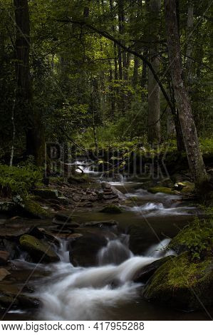 Stream And Waterfalls In Cades Cove In The Smoky Mountain National Park In Tennessee