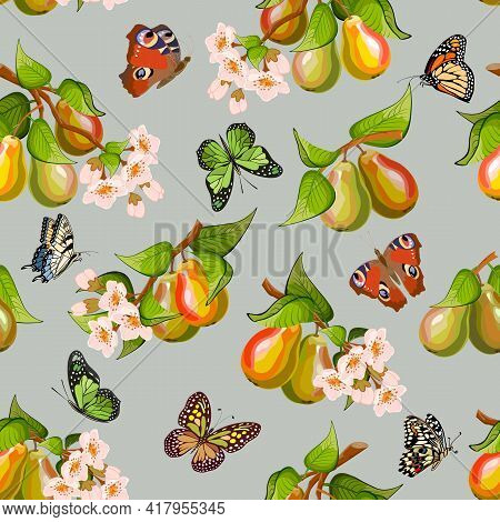 Branches With Pears And Flowers.branches With Pears, Flowers And Butterflies On A Colored Background