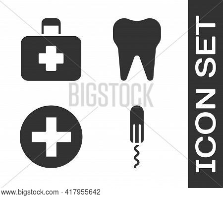 Set Sanitary Tampon, First Aid Kit, Cross Hospital Medical And Tooth Icon. Vector