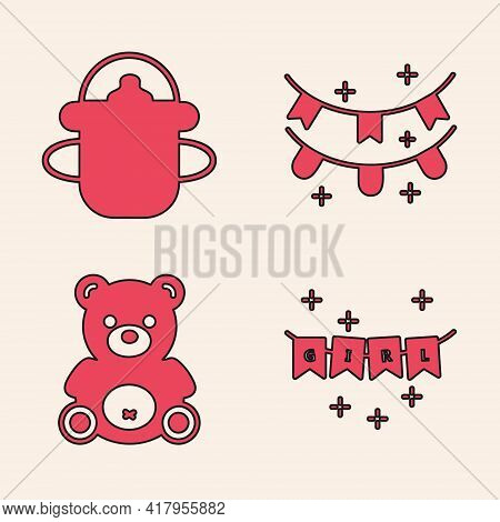 Set Carnival Garland With Flags, Baby Bottle, Carnival Garland With Flags And Teddy Bear Plush Toy I
