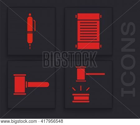 Set Judge Gavel, Pen, Decree, Paper, Parchment, Scroll And Judge Gavel Icon. Vector
