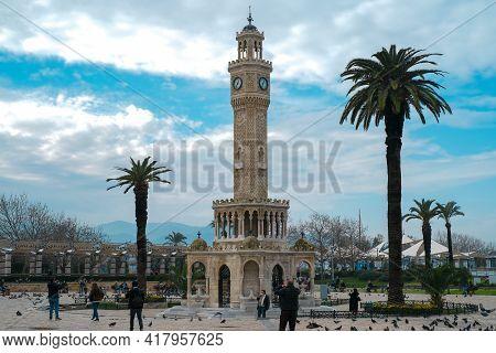 Izmir,turkey-february 3,2021:izmir Konak Square Old Clock Tower