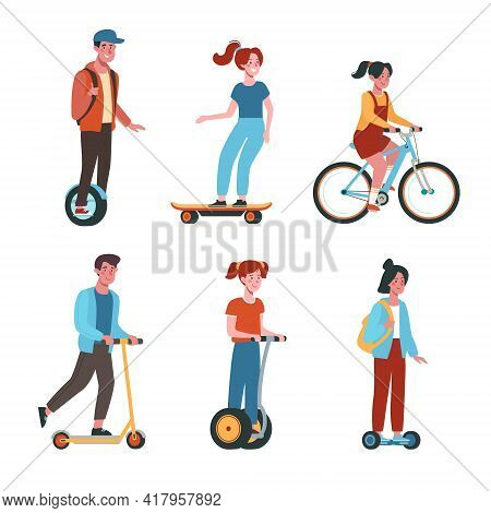 Teenagers Ride Bicycles, Skateboards, Scooters, Gyroboards. Flat Vector Collection With Kids On Elec