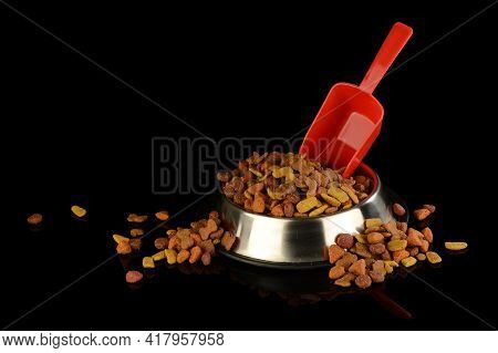 A Dish Full Of Overflowing Kibbles For The Loving Dog Companion Isolated On Black Reflective Backgro