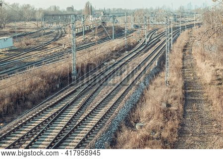 Railway And Industrial Area Of The City. Industrial Area Of The City With Rail And Multi-track Railw