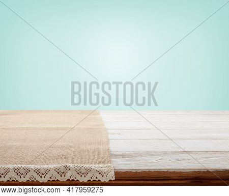 Canvas Napkin With Lace, Tablecloth On Wooden Table Perspective. Selective Fokus.