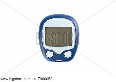 Close Up Of Glucometer Isolated On White Background. Medical Devices, Healthcare Concept.