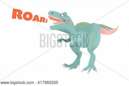 Funny Cartoon Dinosaur. Tyrannosaurus Isolated On White Background