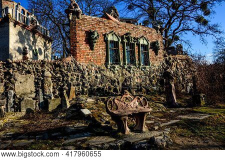 Side View To The House Of Architect Mykola Golovan, Known As House With Chimeras In Lutsk, Ukraine