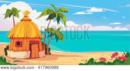 Bungalow On Maldives Island With Palm Trees And Tropical Flowers, Resort Water Villas Vector Banner.