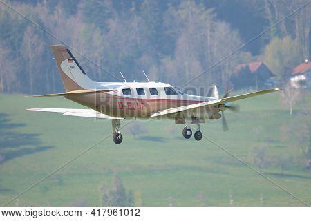 Piper Pa-46 Aircraft Approaching At The Airport Saint Gallen Altenrhein In Switzerland 21.4.2021