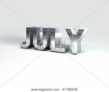 Metal Calendar Month July