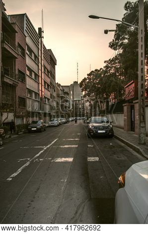 Tehran,iran,december 02,2020:on 86th Street, At The Crossroads With Soheilian Avenue, There Is A Fen