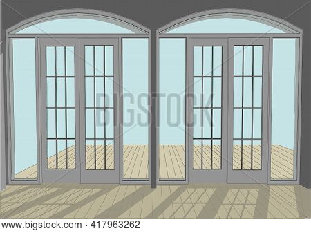 Wooden Patio And Doors Again A Blue Sky