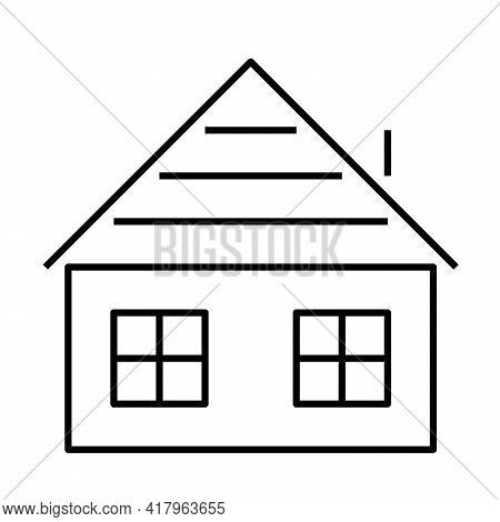 Wooden House Sign. Symbol Of Chalet Or Cottage. Outline Modern Design Element. Simple Black Flat Vec