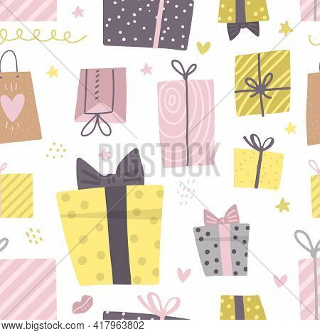 Party Presents Doodle Colorful Seamless Pattern. Hand Drawn Gift Boxes. Happy Birthday Texture. Deco