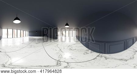360 Panorama Spherical View Of Dark Blue Wall And Marble Floor Big Loft Living Room With Windows And