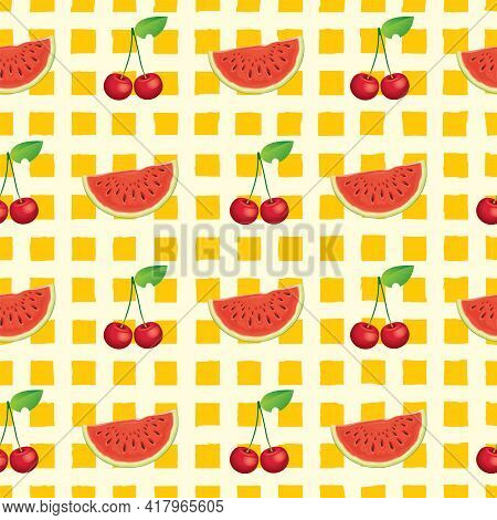 Summer Fruit Seamless Pattern With Juicy Watermelon Slices And Ripe Cherries On A Checkered Backdrop